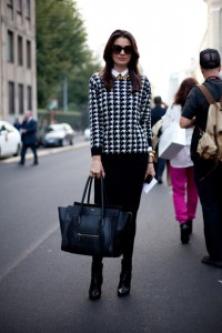 MILAN-FASHION-WEEK-STREET-STYLE-SS-2013-SPRING-SUMMER-2013-GRAPHIC-PRINT-SWEATER-HOUNDSTOOTH-MIDI-PENCIL-SKIRT-ANKLE-BOOTS-CELINE-LUGGAGE-TOTE-BAG-GOLD-CHAIN-NECKLACE-OVERSIZED-SUNGLASSES-VIA-HARPERS-BAZAAR